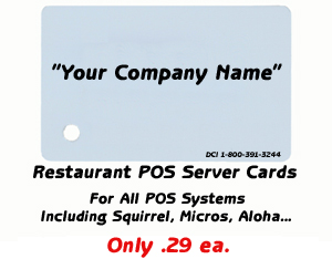 Restaurant POS Server/Employee/Manager/Swipe Cards For All POS Systems Including Squirrel, Micros, Aloha etc...